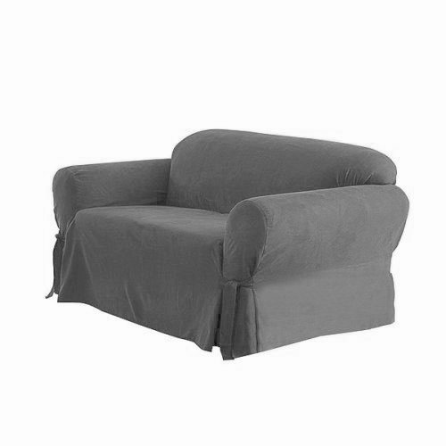 SOLID GREY Color Micro Suede Couch Cover 3 Piece Slipcover Set Sofa+Loveseat+Chair Covers