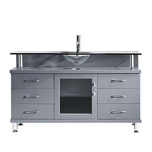 Virtu USA Vincente 55 inch Single Sink Bathroom Vanity Set in Grey w/Integrated Round Sink, Clear Tempered Glass Countertop, No Faucet, No Mirror - MS-55-G-GR ()