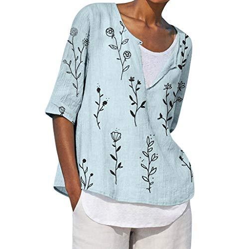 Women's Linen T-Shirt Blouse Plus Size Boho Ethnic V Neck Tops Summer Cotton Linen Shirts Green ()