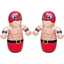 "36"" 2 Pack 3-D Bop Bag Masked Wrestlers - MMA Fighter Wrestling Kick Boxing Tackle Buddy Punching Bop Bag Fun Kids Indoor Outdoor Toy"