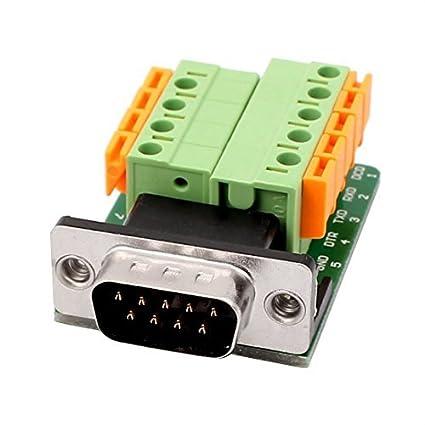 eDealMax DB9 adaptador Macho 9 Posición RS232 Serial al Terminal sin soldadura de señal del tablero