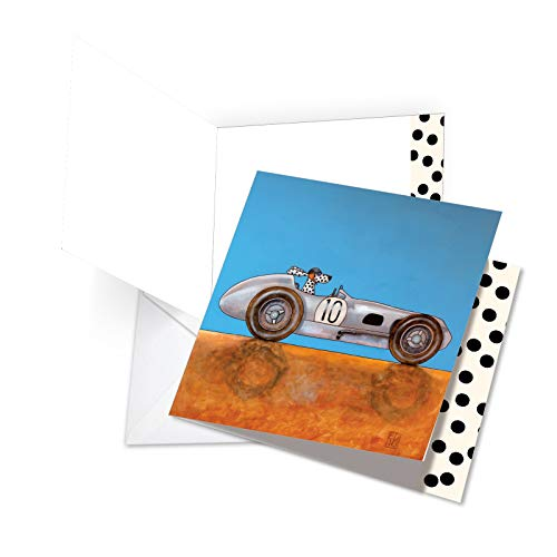 (JQ4977BBDG Jumbo Birthday Square-Top Card: See Spot Drive a Roadster Featuring Whimsical, Illustrated Images of Dogs Driving Cars, with Envelope (Extra Large Size: 8.25