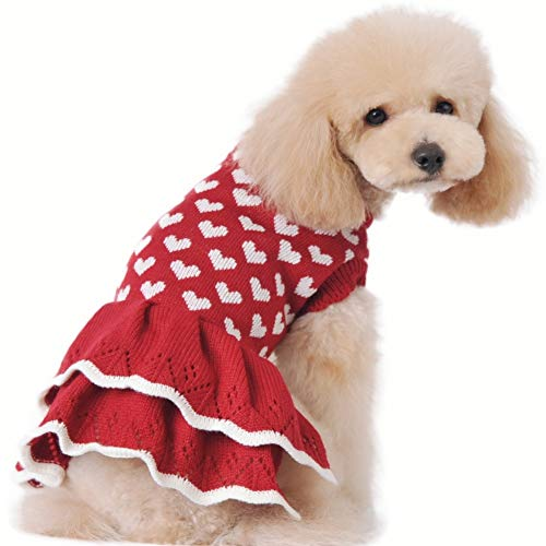 Stock Show Small Dog Cute Warm Sweater Pet Fashion Beautiful White Love Heart Princess Style Sweater Dress Red Female…