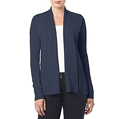 89th&Madison Womens Open Front Ribbed Cardigan Sweater with Long Sleeves
