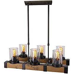 Anmytek Metal Wood and Glass Chandelier Pendent Light Retro Rustic Loft Antique Lamp Edison Vintage Pipe Sconce Decorative Light Fixtures and Ceiling Light Luminaire (Six Lights)