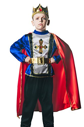 Kids Boys King Arthur Halloween Costume Medieval Lord Prince Dress Up & Role Play (6-8 years)