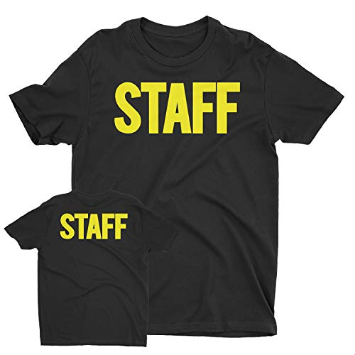 NYC FACTORY Men's Staff T-Shirt Front Back Print Tee Event Uniform Screen Printed Tshirt (Black-Neon, Large) -