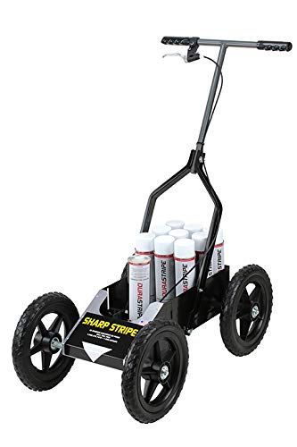 USSC products Sharp Stripe ATWH All Terrain Wide Handle Athletic Field line Marking Striping Machine with Wide Handle and Easy to roll Wheels with axle Bearings.