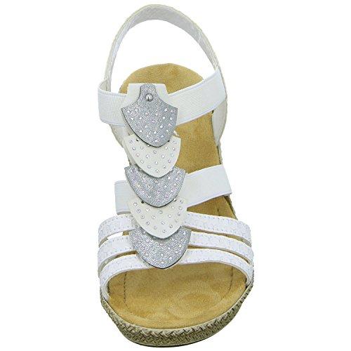 Rieker 66514-80 Ladies Block Heel Sandals White Weiß NZ6xDm2eIA