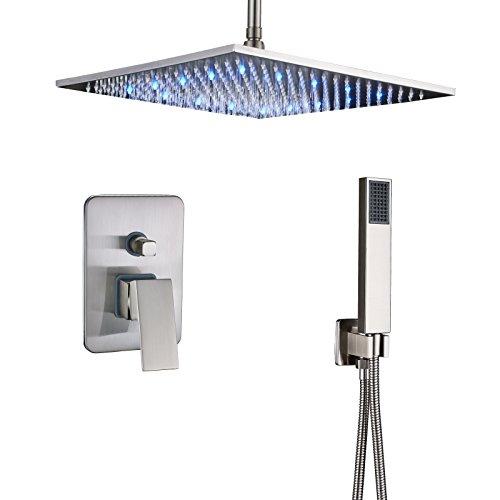 (Rozin Brushed Nickel Rainfall Shower Faucet Ceiling Mount LED 16