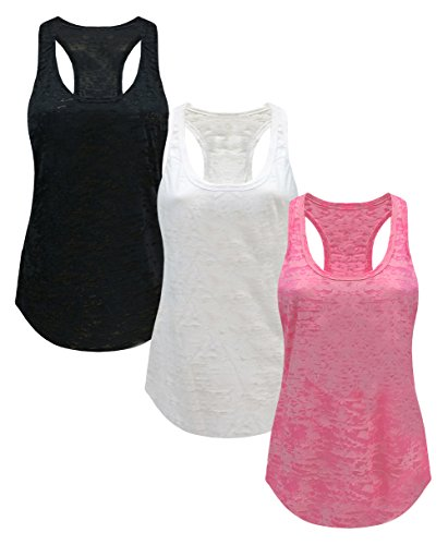 Tough Cookie's Women's Plain Burnout Racerback Workout Tank Tops (Medium - LF, Black/White/Pink) ()