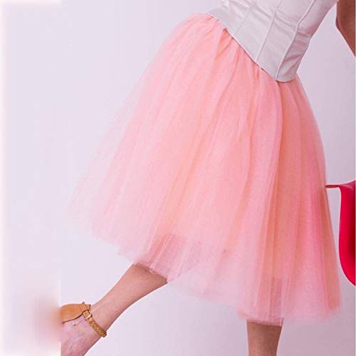 Peach WHFDBZQ 7 Layers Midi Tulle Skirts Womens Fashion Pleated Tutu Skirt Elegant Wedding Vintage Lolita Petticoat