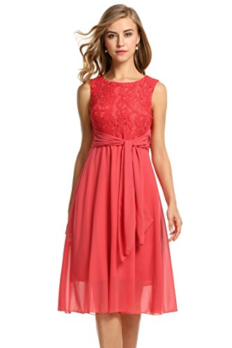 Zeagoo Elegant Women Sleeveless Flare Fit Sundress Lace Chiffon Party Prom Dress