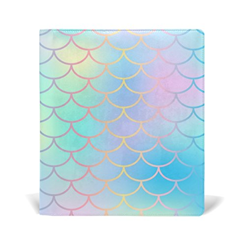Reusable Leather Book Cover Candy Color Magic Mermaid Fish Scale Pattern Durable School Book Protector Fits up to 9x11 inch by My Little Nest