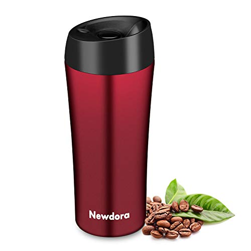 Newdora Termo Cafe, Vaso Termico Cafe de 380ml con Tapa, Botella Acero Inoxidable Agua para Viajes Oficina en casa Escuela Trabajos Camping (Rosso)