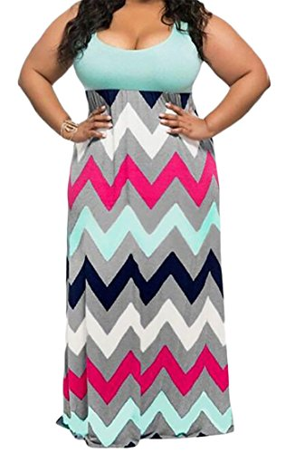 Dress Low Maxi CMC Sexy Plus Sleeveless Green High Print Cut Womens Waist Size nnqHwPOR