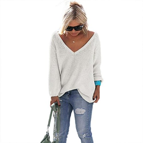 Perman Women Long Sleeve Knitted Pullover Loose Sweater Jumper Tops Knitwear (M, White)