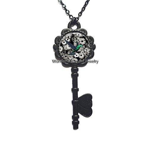 New Art Glass Cabochon Key Necklace Hummingbird Key Necklace Hummingbird Key Pendant Glass Dome Key Pendant Key Necklace,PU123