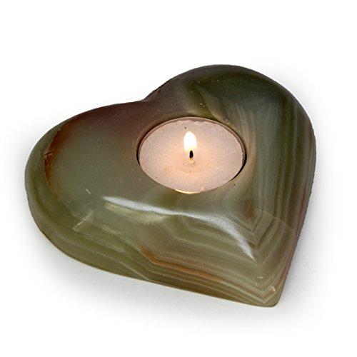 The Royal Gift Shop Multi-Green Polished Onyx Heart Shaped Tealight Holder