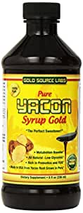 Pure Yacon Syrup Gold - All Natural Sweetener & Sugar Substitute - 8 oz - Highest FOS Prebiotics - Raw Root Extract Controls Appetite, Boosts Metabolism, Lowers Blood Sugar, Natural Weight Loss Diet
