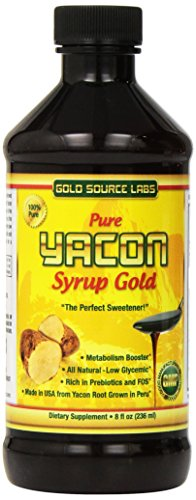 Pure Yacon Syrup Gold - All Natural Sweetener and Sugar Substitute, Highest FOS Prebiotics, 8 oz - Raw Root Extract Controls Appetite, Boosts Metabolism, Lowers Blood Sugar, Natural Weight Loss Diet (Foods Not To Eat On Candida Diet)