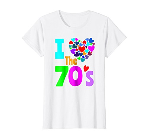 Womens I Love The 70's Shirt 70s Party 1970's Clothes Costume Tee Large White