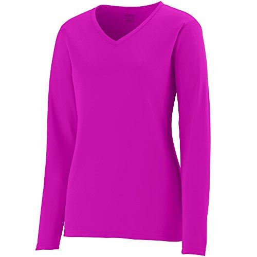 (Augusta Sportswear Womens Long Sleeve Wicking T-Shirt, Power Pink, X-Large)