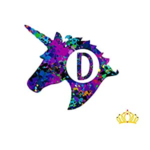 Letter D Monogram Unicorn Decal for Yeti Cup, Tumbler, Laptop, or Car - 3 inch height