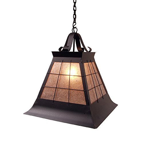 (Steel Partners Lighting 2181-P-Lg-B TOPRIDGE Pendant with Amber Mica Lens, Black Finish, Large)