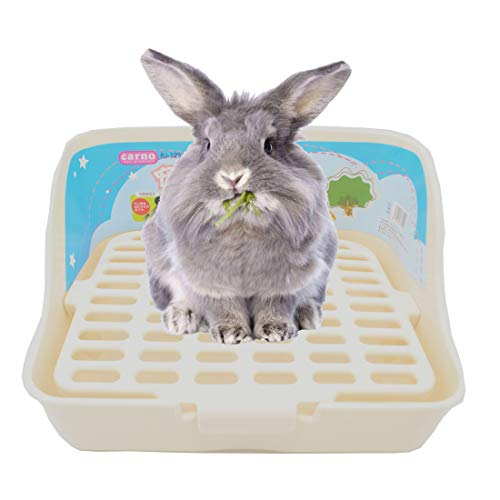 Rabbit Cage Litter Box Easy to Clean Potty Trainer for Cat Adult Guinea Pig Ferret Small Animals (White)