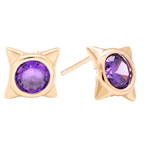 Minion Costume Australia (Real Spark(TM) Women Gold Plated Star Diamond-Cut Amethyst Crystal Stud Earrings Purple)