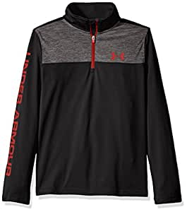 Under Armour Boys' Tech 1/4 Zip, Black/Graphite, Youth X-Small