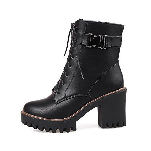 Allhqfashion Womens Zachte Materiële Rits Ronde Gesloten Teen Hoge Hakken Lage Laarzen Met Metaal Zwart