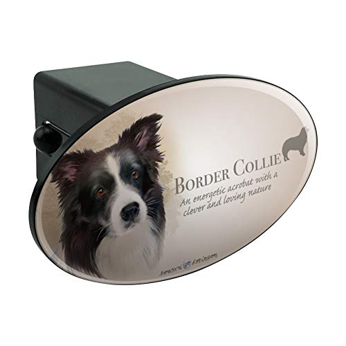 Graphics and More Border Collie Dog Breed Oval Tow Hitch Cover Trailer Plug Insert 2