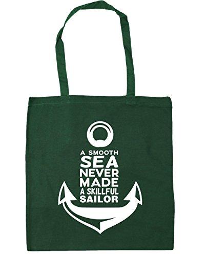 HippoWarehouse a Smooth Sea Never Made A skillful sailor bolsa de la compra bolsa de playa 42cm x38cm, 10litros verde oscuro