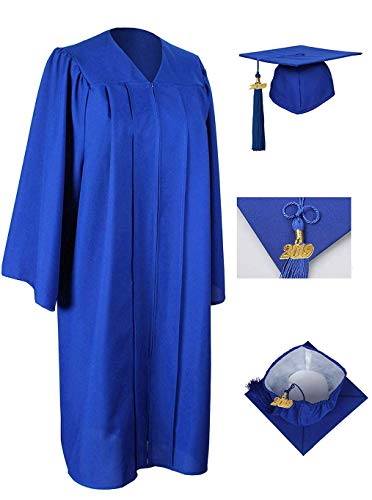 - GraduationRoyal Unisex Adult Matte Graduation Gown Cap Tassel with 2019 Year Charm For High School and College Bachelor Royal Blue