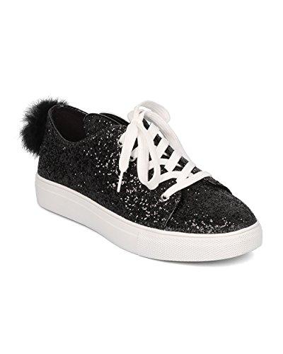 Kids Bunny Shoes (Women Glitter Bunny Ear and Tail Sneaker - Casual, Girls Night, School - Rabbit Sneaker - GF98 By Wild Diva - Black (Size: 7.5))