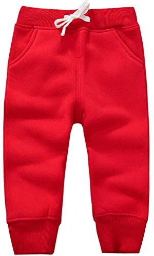 Mom's care Unisex Kids Fleece Sports Jogger Pants For Toddler Baby, Little Girls, Little Boys Red, 2-3 Years(2T-3T) = Tag 3Y