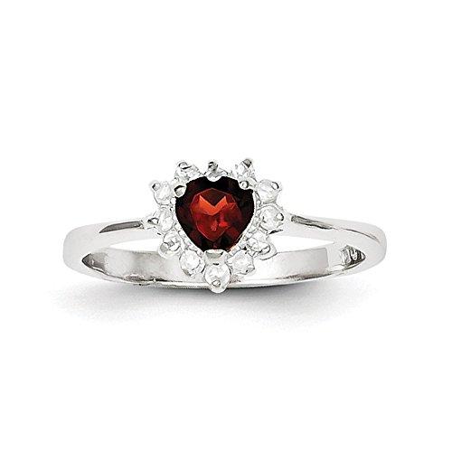 (Best Designer Jewelry Sterling Silver Rhodium-plated Garnet & CZ Heart Ring)
