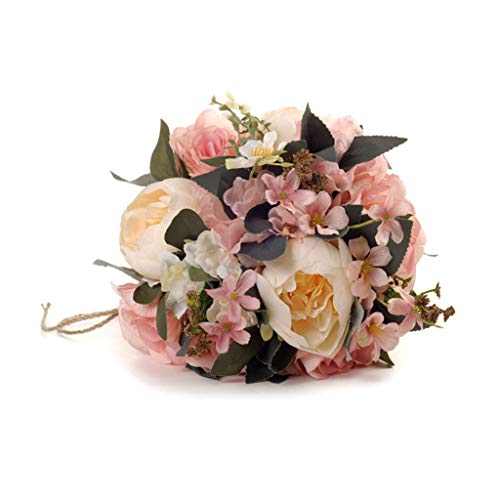 NszzJixo9 Wedding Bouquet - Crystal Rose Pearl Bridesmaid Bride Artificial Silk Flower Bridal Brooch Bouquets, Flowers Diamond Satin Bouquets for Wedding, Engagement Valentine's Day Decor