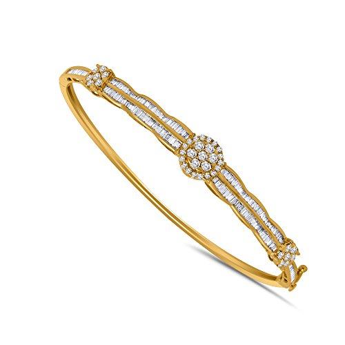IGI-Certified 1.31 CT Round & Baguette Shape Diamond Flower Cluster Bangle Bracelet, 10K Solid Gold