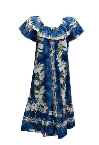 Jade Fashions Inc. Women Hawaiian Short Double Ruffle Blue Ginger Muumuu-Blue-S (Ruffle Muumuu)