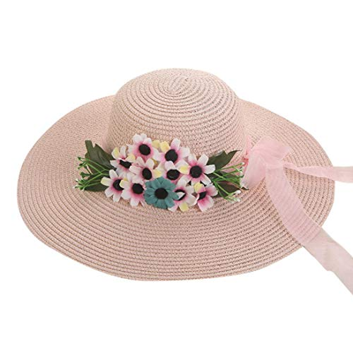 URIBAKE Women Beach Straw Hat Gangster Cap Jazz Sunshade Panama Trilby Fedora Hat