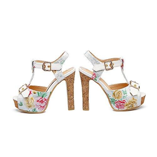 Verano Nuevas PU Mujer Tac Zapatos Plataforma con Artificial de Sandalias Primavera Impermeable 4nwZtYX1qx