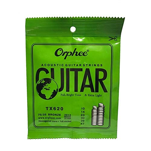 - 3 Packs Orphee TX620-P Colorful Ball-End Pure Copper Acoustic Guitar Strings Extra Light 010, 014, 023, 030, 039, 047