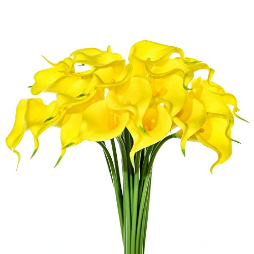 JUSTOYOU Artificial Calla Lily Real Touch Latex Flower Blossom for Bridal Wedding Bouquet Home Decoration,Pack of 20pcs (Yellow)