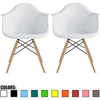 2xhome   Set Of Two (2) White   Eames Style Armchair Natural Wood Legs