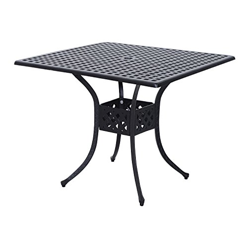 Outsunny Square Cast Aluminum Outdoor Dining Table - Black by Outsunny