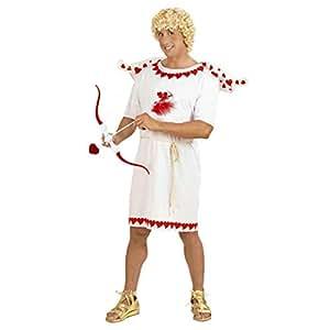 Disfraz de Cupido el Dios del Amor para Caballero / Blanco-Rojo en Talla S (ES 48) / Traje de ángel Cupido para Hombre / Adecuado para Fiestas temáticas y carnavales