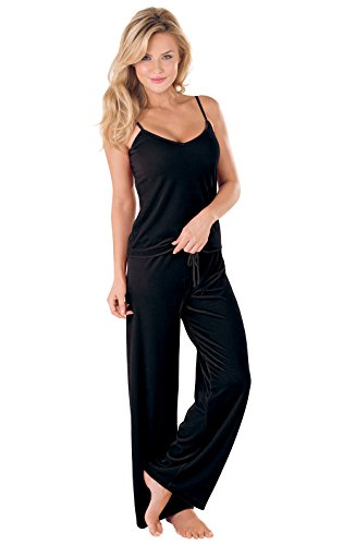 PajamaGram Women's Velour Cami Pajama with Tank and Pants, Black, MED (8-10) - Long Sleeved Velour Pant